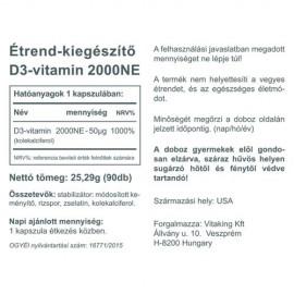 Vitaking Vitamin D-2000 D3-vitamin kapszula - 90db